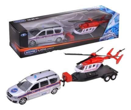 Коллекционная модель Lada largus МЧС с Вертолетом Autotime 49522