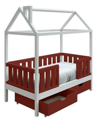 Кровать-домик Трурум KidS Сказка широкий бортик, ящики шоколадно-белая