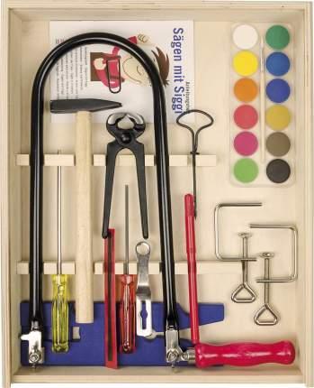 Детская мастерская Pebaro ящик инструментов для работы по дереву с лобзиком и струбцинами
