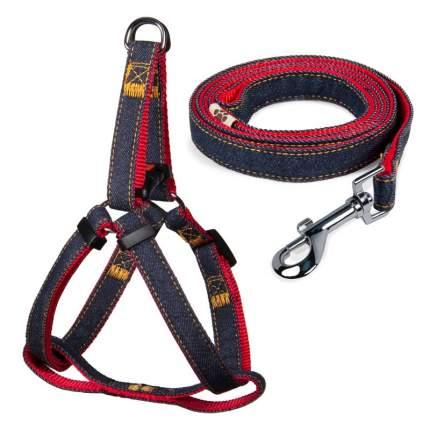 Шлейка и поводок для собак Triol, джинсовый/красный, 350-450х15 мм; 1200х15 мм