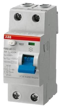 """Выключатель дифференциального тока (УЗО) ABB """"F202"""", 2P, 40А, 100мА, АС"""