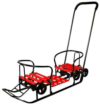 """Снегомобиль Snow Galaxy Black Auto """"Для Двоих"""" красные рейки на больших мягких колесах"""