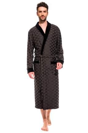 Мужской облегченный махровый халат из бамбука Peche Monnaie 420, темно серый, L