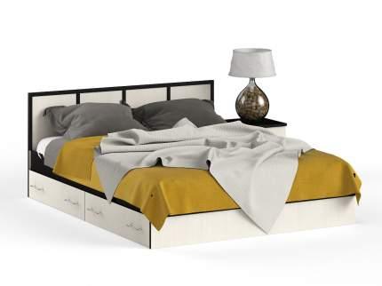 Кровать 1600 + тумба СВК Сакура венге/дуб лоредо, 204х203,5х80 см