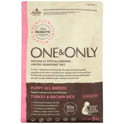 Сухой корм для щенков ONE&ONLY Puppy All Breeds Turkey&Rice, индейка с рисом, 3кг