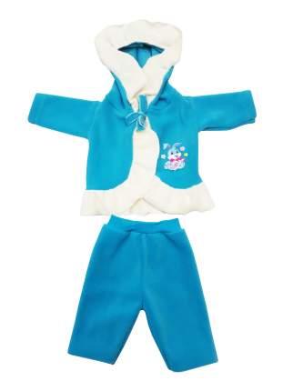 Пальто с капюшоном  и брючки для куклы Колибри 87 бирюзовый,белый