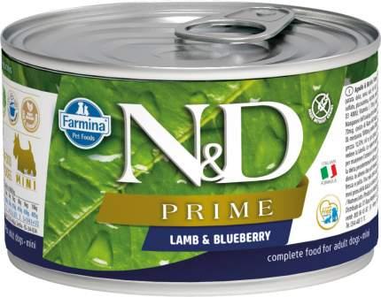 Консервы для собак Farmina N&D Prime Mini, ягненок и черника, 140г