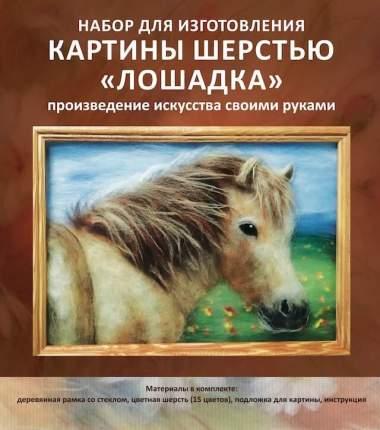 Набор для изготовления картины шерстью Цветной Лошадка SH018