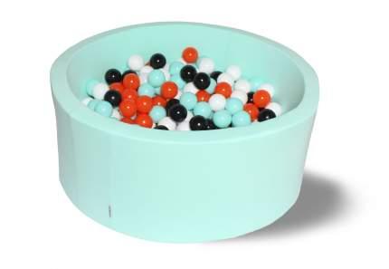 Сухой игровой бассейн Ночной цветок 40см с 200 шариками: мятн, бел, черн, оранж,