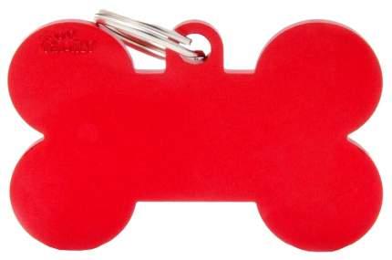 Адресник My Family Basic алюминиевый в форме косточки для животных (4 см, Красный)