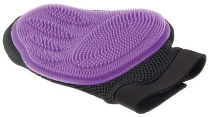Рукавица для вычесывания V.I.Pet фиолетовая, большая, длина ладони до 21 см