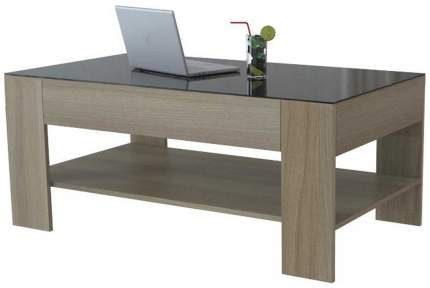 Журнальный столик Мебелик BeautyStyle 26 271 110х60х46,5 см, дуб сонома/стекло чёрное