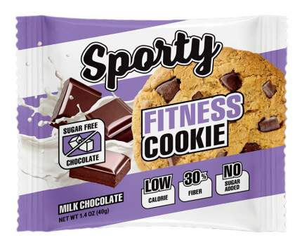 Sporty Fitness Cookie 40 г молочный шоколад) Низкокалорийное фитнес-печенье без сахара
