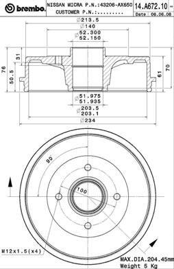 Тормозной барабан BREMBO 14.A672.10