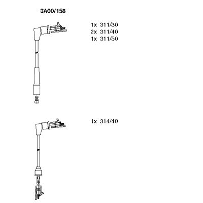 Комплект проводов зажигания BREMI 3A00/158