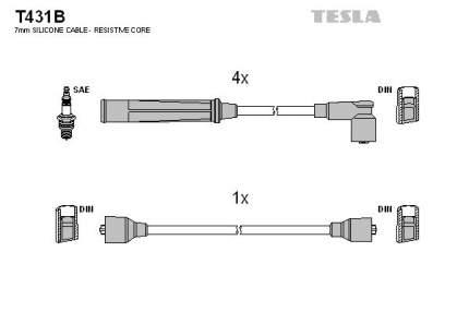 Комплект проводов зажигания TESLA T431B