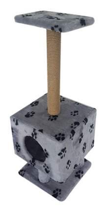 Комплекс для кошек Пушок Квадратный на ножках Светло-серый с лапками