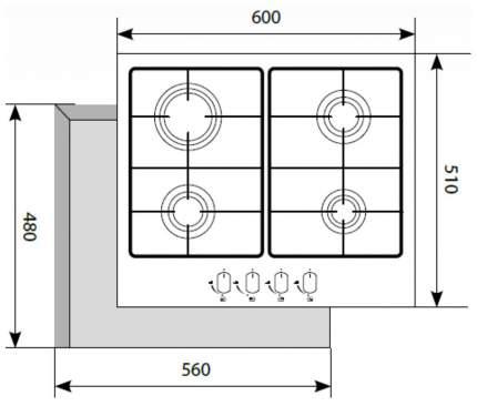 Встраиваемая варочная панель газовая LEX GVS 644 IX Silver