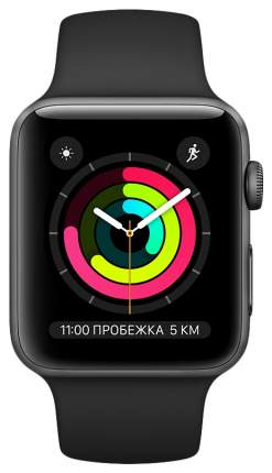 Смарт-часы Apple Watch Series 3 38mm Space Grey with Black Band (MQKV2RU/A)
