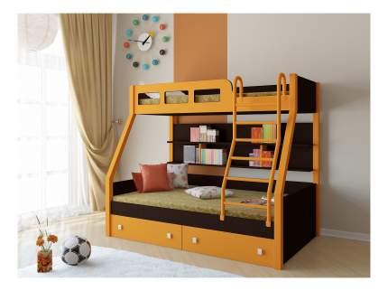 Двухъярусная кровать РВ мебель Рио каркас венге оранжевая