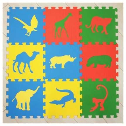 Мягкий коврик-пазл Eco Cover Сафари 9 деталей 33х33 см