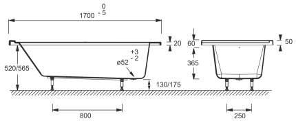 Акриловая ванна Jacob Delafon Formilia E6139L-00 170х80,3 без гидромассажа