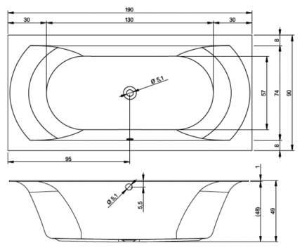 Акриловая ванна Riho Linares Velvet 190х90 без гидромассажа