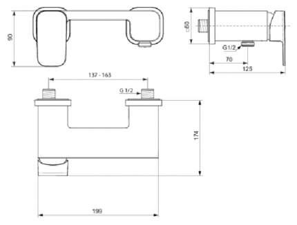 Смеситель для душа IDEAL STANDARD LUX Тоник II A6337AA хром