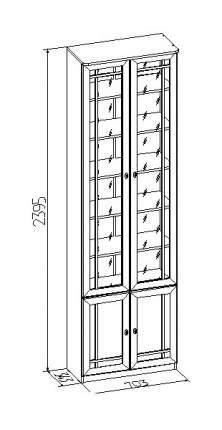 Шкаф книжный Глазов мебель Sherlock 32 GLZ_T0016164 70,3х34,3х239,5, дуб сонома