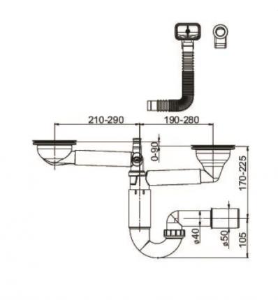 Сифон для кухонной мойки Prevex PL2-D9C45-SANT-01