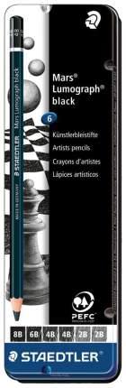 Карандаши чернографитные Staedtler Lumograph ST100BG6