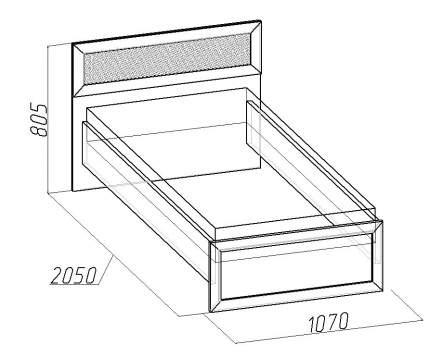 Кровать односпальная Глазов мебель Милана 4 90х200 см, коричневый