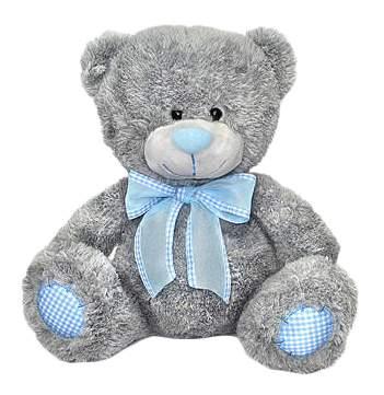 Мягкая игрушка LAVA Медведь с голубым бантом большой музыкальный 24 см