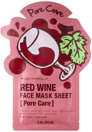 Тканевая маска сужающая поры TONY MOLY I'm Real Red Wine Mask Sheet, 21 мл