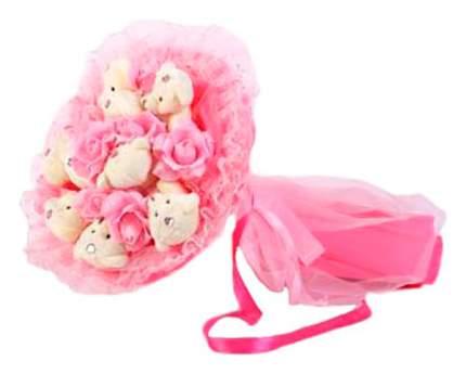 Мягкая игрушка Toy Bouquet Букет Медвежата и розы, 9 мишек и 9 роз, цвет розовый