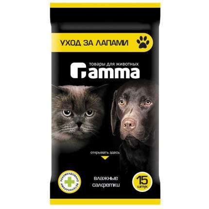 Влажные салфетки для кошек и собак Gamma, для ухода за лапами, 15шт