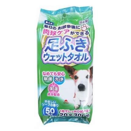 Влажные салфетки для собак Japan Premium Pet, антибактериальные для защиты лап, 50шт.