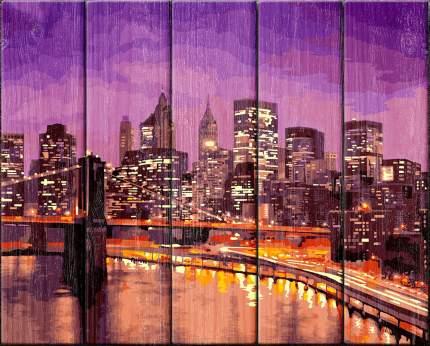 """Набор для раскрашивания по номерам (по дереву) Фрея """"Нью-Йорк"""", арт. PKW-1, 50x40 см"""