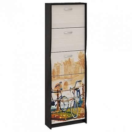 Шкаф для обуви ТриЯ тип 2 Венге цаво/Дуб молочный с цветным рисунком