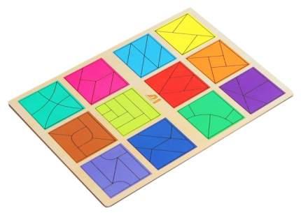 """Рамка-вкладыш """"Сложи квадрат"""", 12 квадратов, 3 уровень Деревянные игрушки"""