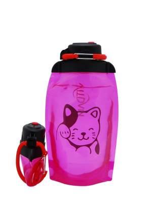 Складная эко бутылка, розовая, объём 500 мл (артикул B050PIS-1406) с рисунком
