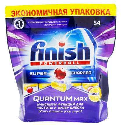 Таблетки для посудомоечной машины Finish quantum блеск  и защита max лимон 54 штуки