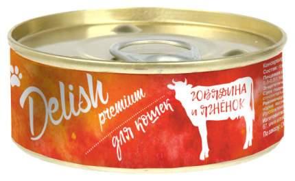 Консервы для кошек Delish Premium говядина и ягненок 100 г