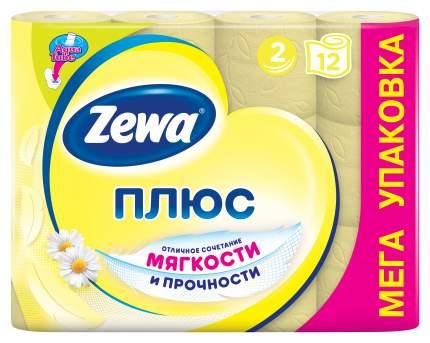 Туалетная бумага Zewa Плюс Ромашка, 2 слоя, 12 рулонов