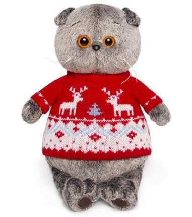 Мягкая игрушка BUDI BASA Кот Басик в свитере с оленями 19 см