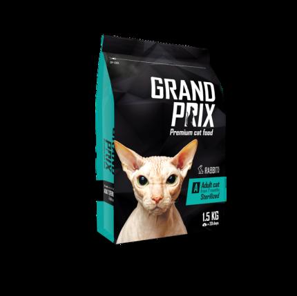 Сухой корм для кошек Grand prix Sterilized, для стерилизованных, кролик, 1,5кг
