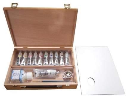 Акриловые краски Maimeri Polycolor в деревянном ящике 20 х 30 см + аксессуары