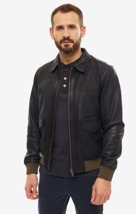 Куртка кожаная мужская Selected 16068617 black черная/хаки L