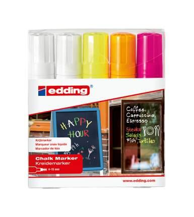 Набор маркеров меловых, клиновидный наконечник, стираемые, 4-15 мм 4 цвета, 5 штук