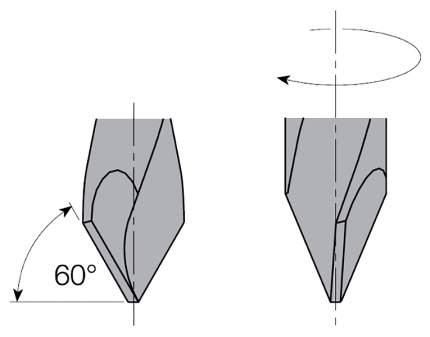 Сверло HW для присадочного станка 5x27x57,5 Z=2 S=10x26 LH CMT 313.050.12